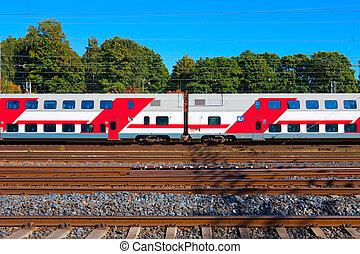 de trein van de passagier, in, finland