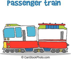 de trein van de passagier, van, vector, kunst