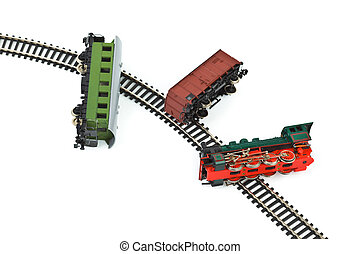 de trein van het stuk speelgoed, botsing