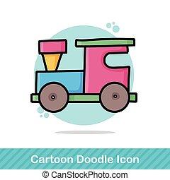 de trein van het stuk speelgoed, doodle