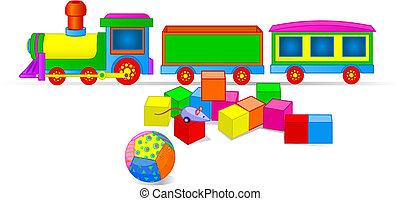 de trein van het stuk speelgoed, en, blokjes