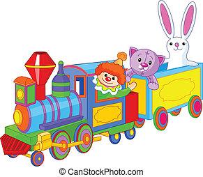 de trein van het stuk speelgoed, en, speelgoed