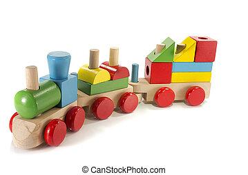 de trein van het stuk speelgoed, gemaakt, van, hout