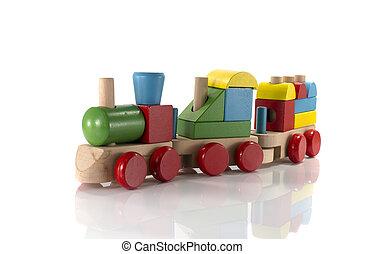 de trein van het stuk speelgoed, hout, gemaakt