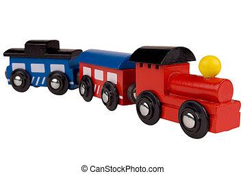 de trein van het stuk speelgoed, hout