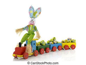 de trein van het stuk speelgoed, paashaas