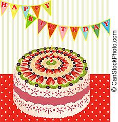de, um, bolo aniversário, com, kiwi, e, morangos