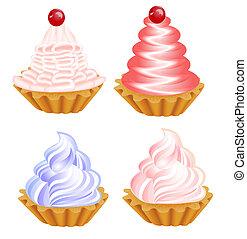 de, un, conjunto, de, delicioso, pasteles, en, el, blanco