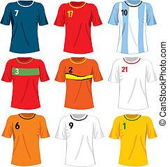 de uniformen van het voetbal, team