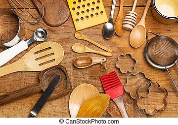 de, utensillos, cocina