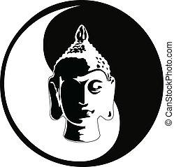 de, vector, boeddha, hoofd
