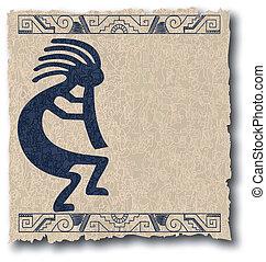 de, vector, mayan, en, inca, van een stam, op, oud, papier
