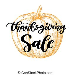 de, vendita, ringraziamento, vettore, lettering., giorno, scheda, scritto mano