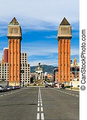 de, venetiaan, torens, in, barcelona
