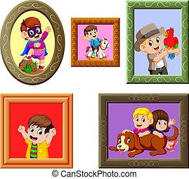de, verzameling, van, de, foto's, frame, met, de, anders, afbeelding