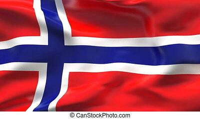 de vlag van noorwegen, wind, kreukelig