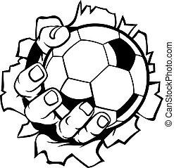 de voetbal van het voetbal, hand, bal, achtergrond, tearing