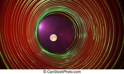 de, volle maan, in, ruimte, abstract, conceptuele achtergrond, met, futuristisch, hoge technologie, wormhole, tunnel