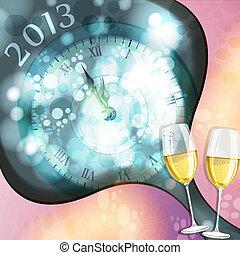 de vooravond van het nieuwe jaar, kaart, groet