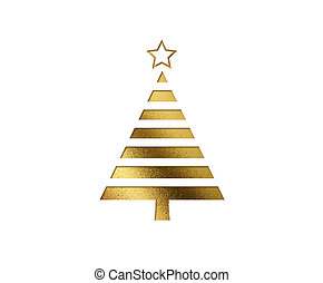 de, vrijstaand, gouden, schitteren, kerstboom, plat,...