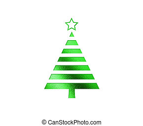 de, vrijstaand, groene, kerstboom, plat, pictogram