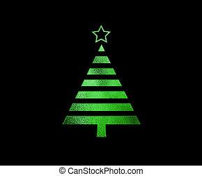 de, vrijstaand, groene, schitteren, kerstboom, plat,...