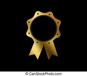 de, vrijstaand, luxe, gouden, schitteren, badge, plat, pictogram