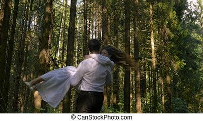 de, vrolijke , bruidegom, aanhebben, zijn, bruid, in, zijn,...