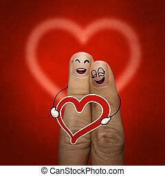 de, vrolijke , vinger, paar, verliefd, met, geverfde, smiley