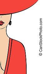 de, vrouw, in het rood