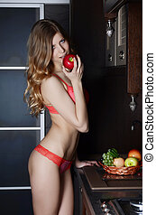 de, vrouw, in, ondergoed, met, een, mand van fruit, op, keuken