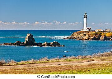 de vuurtoren van het punt van de duif, op, californië kust