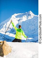 de wandeling van de mens, in, himalaya, bergen, in, nepal