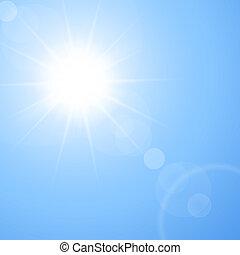 de, warme, zomer, zon, -, abstract, vector, achtergrond