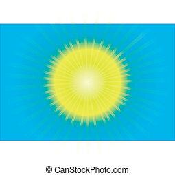 de, warme, zomer, zon, en blauw, hemel