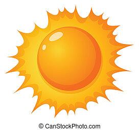 de, warme, zon