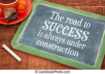 de, weg aan succes, concept, op, bord
