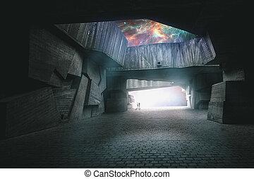 de, weg, om te, een ander, world., open, jouw, verbeelding, abstract, achtergronden