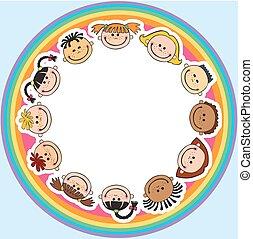 de wereld, kinderen, in een cirkel, geitjes, glimlachen, witte achtergrond
