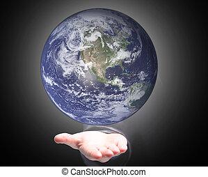 de wereld, van, de, palmen, van, de, hand