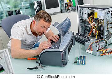 de, werkende, technicus