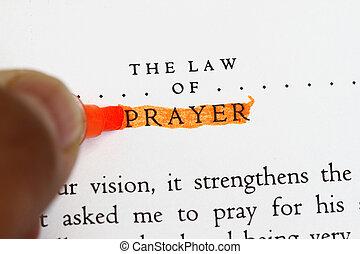 de, wet, van, gebed