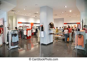 de, winkel, van, de, kleding