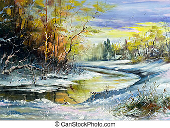 de, winter rivier, in, dorp