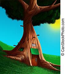 de, woning, in, een, boompje