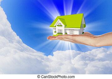 de, woning, in, handen, blauwe hemel
