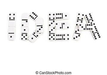 de, woord, idee, is, gemaakt, door, domino, stukken, op, een, witte achtergrond