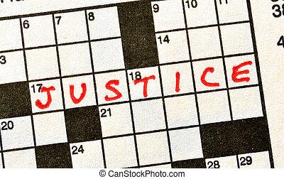 de, woord, justitie, op, kruiswoordraadsel