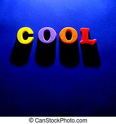 de, woord, koel, op, blauwe achtergrond