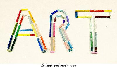 de, woord, kunst, gemaakt, met, olie, pasteles
